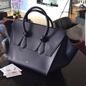Celine Tie Navy Leather Satchel